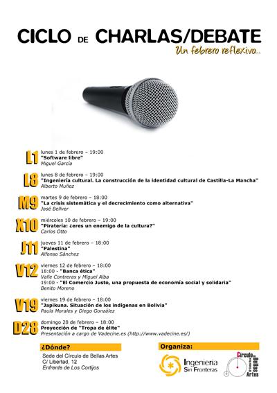 Las charlas tendrán lugar en la sede del Círculo de Bellas Artes de Ciudad Real (C/Libertad, 12).