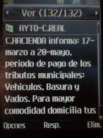 Imagen del primer SMS enviado por el Ayuntamiento.