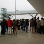 Los trabajadores del Aeropuerto hacen visible su oposición al ERE
