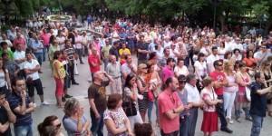 Concentración de protesta contra el ERE en Silicio Solar. Mayo de 2012