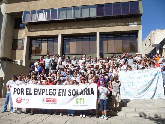 Protesta de los trabajadores de Solaria. Septiembre de 2012.