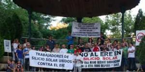 Trabajadores de Silicio Solar, en una manifestación celebrada en 2012