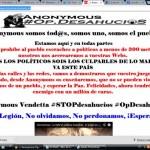 """Anonymous """"escrachea"""" y colapsa la web del PSOE de Manzanares en el marco de su campaña """"Operación Desahucios"""""""
