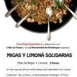 Ciudad Real: Cruz Roja promueve unas migas y limoná solidarias para recaudar fondos para los mas necesitados