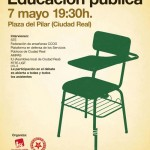 Ciudad Real: La Plaza del Pilar acogerá un debate abierto sobre la educación pública
