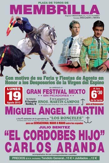 Cartel festival taurino Membrilla