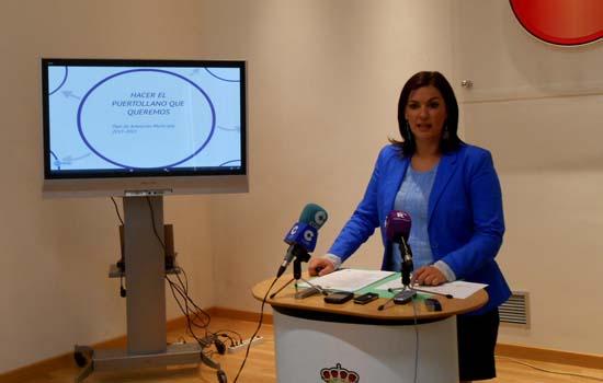 La alcaldesa anunciando el Plan de gobierno