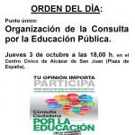 La Coordinadora por la Educación Pública celebrará asamblea para organizar la Consulta ciudadana por la Educación