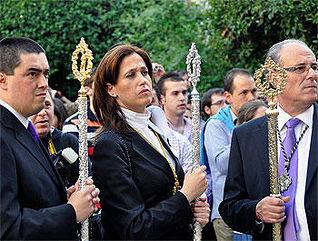 Sandalio León (a la izquierda), con la alcaldesa de Ciudad Real (archivo)