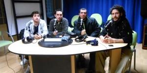 De izquierda a derecha, Raphael De la Guetto, Cristian Rojas, Buscón y King Farias en los estudios municipales de Nueva Onda Puertollano.