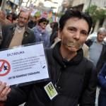 Ciudad Real: El representante del SAT pone el calor en una tibia protesta contra la 'Ley Mordaza'