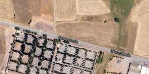 Imagen de satélite de una parte de los terrenos, enfrente del cementerio municipal