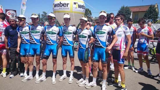 Carlos Jiménez es el tercer ciclista por la derecha (2º por la derecha del equipo Baqué-Campos)
