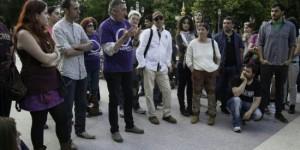 Miembros de Podemos en la provincia, durante una asamblea celebrada este viernes en Ciudad Real