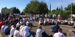 Trabajadores de Elcogas, durante las protestas de hoy