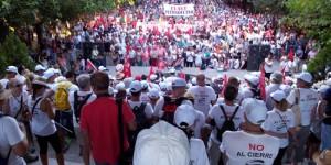 La marcha celebrada ayer, a su llegada a la Concha de la Música de Puertollano