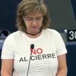"""La camiseta de """"No al cierre de Elcogas"""" se enseñorea en el Parlamento Europeo de la mano de IU"""