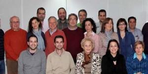 Mateo Plaza, primero por la izquierda en la parte superior de la imagen, junto a la ejecutiva local del PSOE