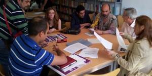 Marcelino Félix (primero por la derecha), reunido con los candidatos de Puertollano Puede
