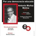 """Antonio Muñoz Molina hablará sobre """"una democracia educada"""" en la Escuela de Ciudadanos"""