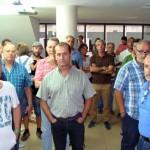Trabajadores de contratas de Elcogas, durante el primer día de encierro