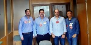 Los miembros del comité, encerrados en el Ministerio de Industria el pasado martes (archivo)