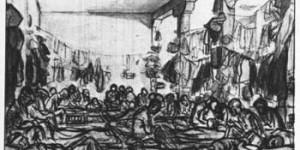 Los presos vivían hacinados y sin comida. Dibujo: Robledano