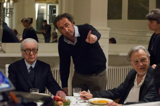 Michael Caine, Director Paolo Sorrentino, and Harvey Keitel on the set of YOUTH. Photo by Gianni Fiorito. © 2015 Twentieth Century Fox Film Corporation All Rights Reserved