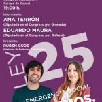 Los diputados Ana Terrón y Eduardo Maura hablarán en Ciudad Real de la Ley 25 de Emergencia Social de Podemos