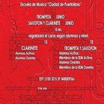 Máster class de saxofón, clarinete y trompeta con la Escuela de Música «Ciudad de Puertollano»
