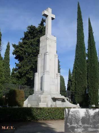 Cruz de los Caídos en el Cementerio Municipal, y en los Jardines del Prado