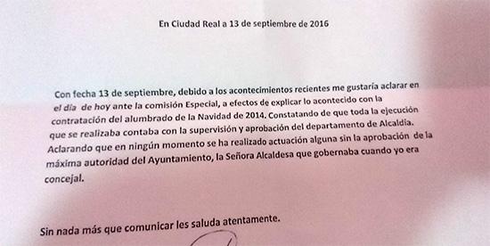 Carta dirigida al presidente de la comisión
