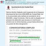 El Grupo Popular asegura que el cargo de gerente de la EMUSER continúa siendo de libre designación y acusa al Ayuntamiento de mentir en su perfil de Facebook