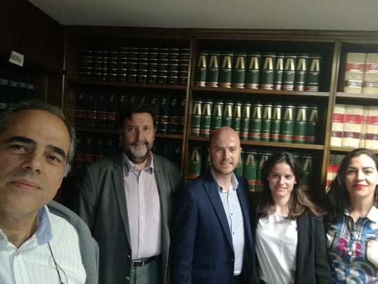 Abogados mediadores Manuel Zamora, Julio Robledo, Rodrigo López, Pilar López y Eva Galván.