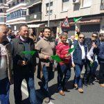 Pablo Toledano y Antonio Moreno, alcaldes de la comarca de Alcudia, acompañaron a los ganaderos en la manifestación de Asaja