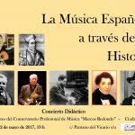 Profesores del Conservatorio Marcos Redondo ofrecerán un concierto didáctico en el que música e historia española irán de la mano