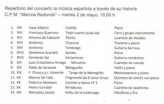 Programa del concierto didáctico