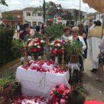 Villamayor engrandece su celebración del Corpus con una bella alfombra de sal coloreada para el paso de la custodia