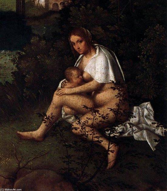 Madre dando pecho a su hijo (detalle de 'La tempestad', de Giorgione)