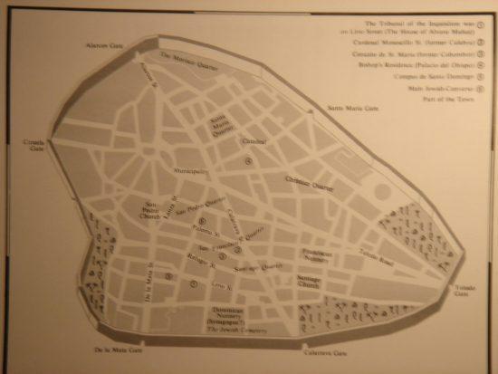 Plano de Ciudad Real en el siglo XV con la ubicación de la judería (Haim Beinart)