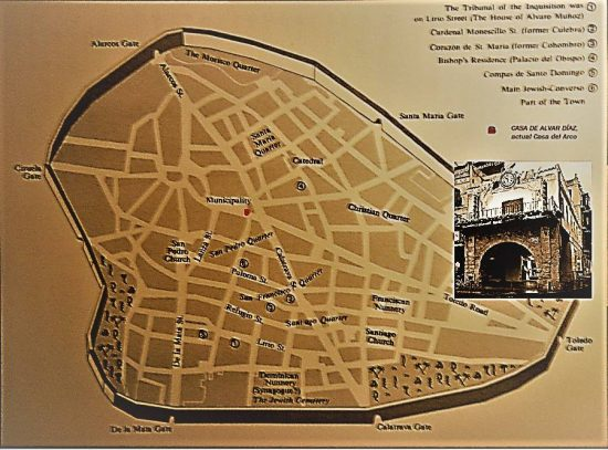 Ubicación de la casa-tienda de Alvar Díaz y la judería de Ciudad Real (Fuente: Haim Beinart y elaboración propia)