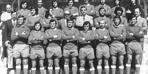 Feliciano Rodríguez es el primero de la derecha en la fila central. La foto corresponde al Calvo Sotelo que ascendió a Segunda División en 1975.
