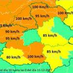 Aviso naranja para esta noche por vientos de hasta 100 kilómetros por hora