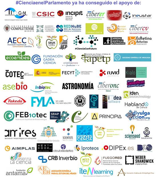 Listado de instituciones y asociaciones científicas que apoyamos actualmente la iniciativa 'Ciencia en el Parlamento'