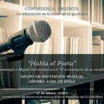 Recital homenaje a Miguel Hernández en el Conservatorio Marcos Redondo