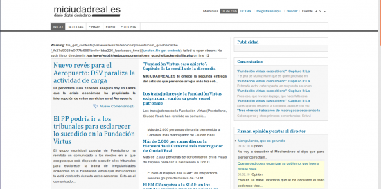 miciudadreal.es, 10.2.2010. Fuente: web.archive.org