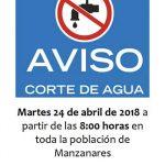 Corte general de agua en Manzanares por reparaciones en la red de suministro