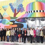 Okuda San Miguel finaliza en Puertollano un mural horizontal de 111 metros, el más largo de su carrera artística
