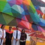 """Puertollano: El artista Okuda San Miguel y cien asistentes despliegan su fantasía en color frente al """"cemento gris"""""""