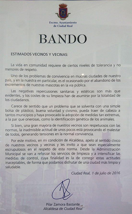 Bando publicado por el Ayuntamiento sobre excrementos caninos